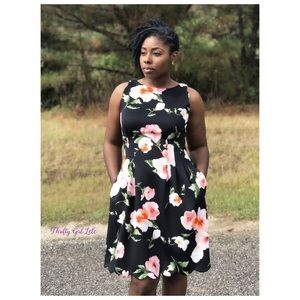 Vince Camuto Floral Sleeveless Fit & Flare Dress